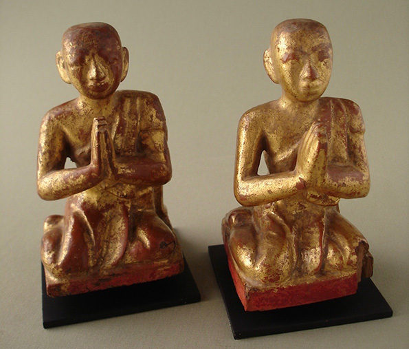Burmese Wooden Monks (Pair Priced At)