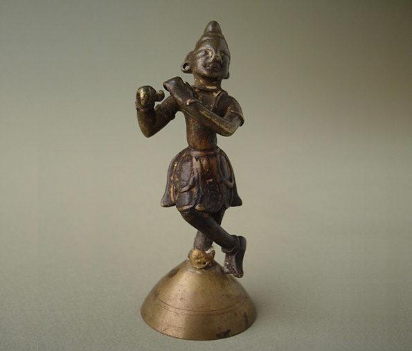 Indian Miniature Bronze of Krishna
