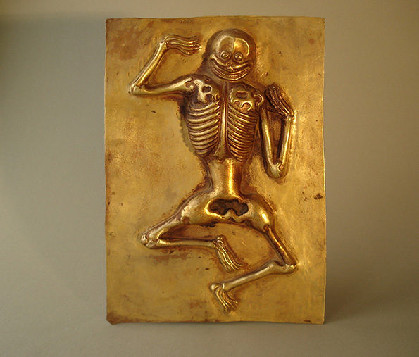 Tibetan Repousse of a Dancing Skeleton