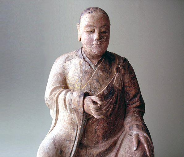 Chinese Wood Carving of a Deity – Qing Dynasty