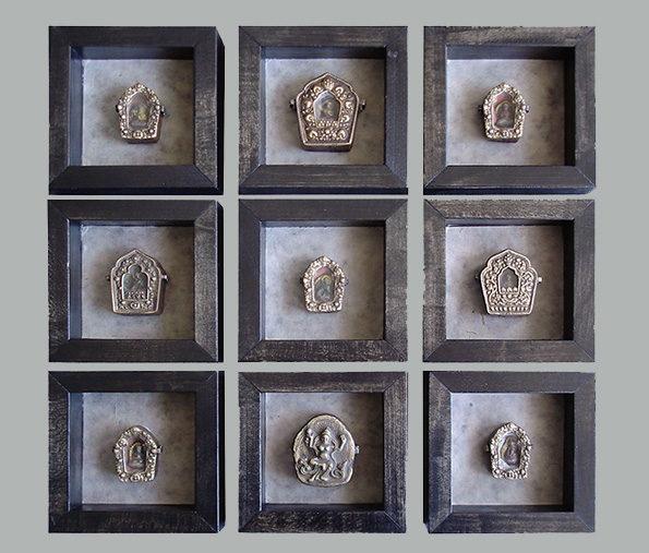 Tibetan Gau Prayer Boxes (Set of 9) Set Priced at
